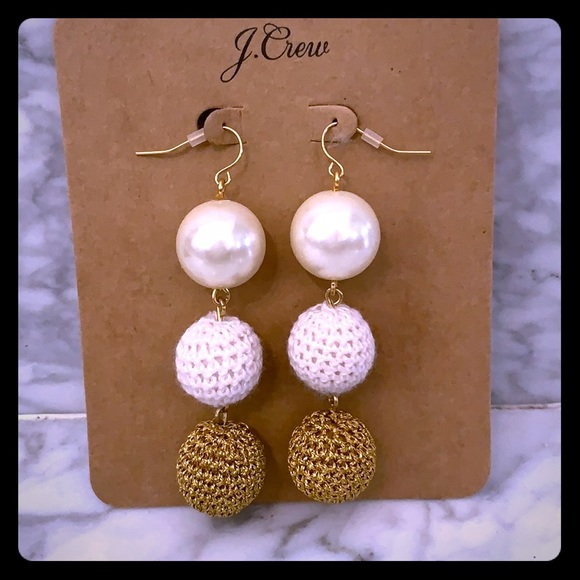 J. Crew Jewelry - JCrew pearl and crochet statement earrings. New.